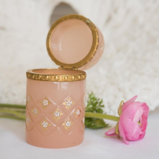 Antique French Pink Opaline Glass Tall Hinged Box - Image 5 of 7