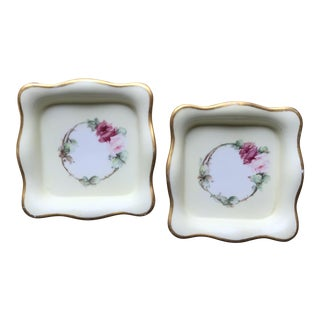 French Square Porcelain Coasters / Dishes - a Pair