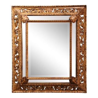 19th Century French Louis XIII Carved Oak Overlay Wall Beveled Mirror For Sale