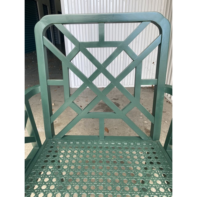 Late 20th Century Vintage Green Fretwork and Cane Arm Chair For Sale - Image 5 of 7