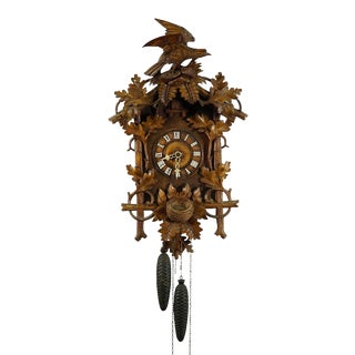 Late 19th Century Black Forest Carved Wood Cuckoo Clock With Bird on Top For Sale