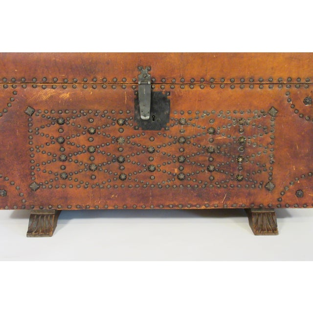 1950s Leather Studded Dome Top Trunk For Sale - Image 9 of 13