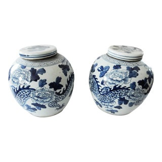Blue & White Dragons Gingers Jars - A Pair