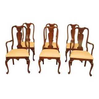 1990s Vintage Harden Furniture Cherry Wood Queen Anne Style Dining Room Chairs - Set of 6 For Sale