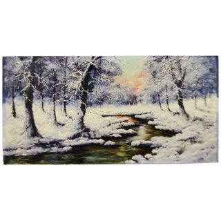 Vintage Large Winter Landscape Oil Painting on Canvas - Artist Signed For Sale