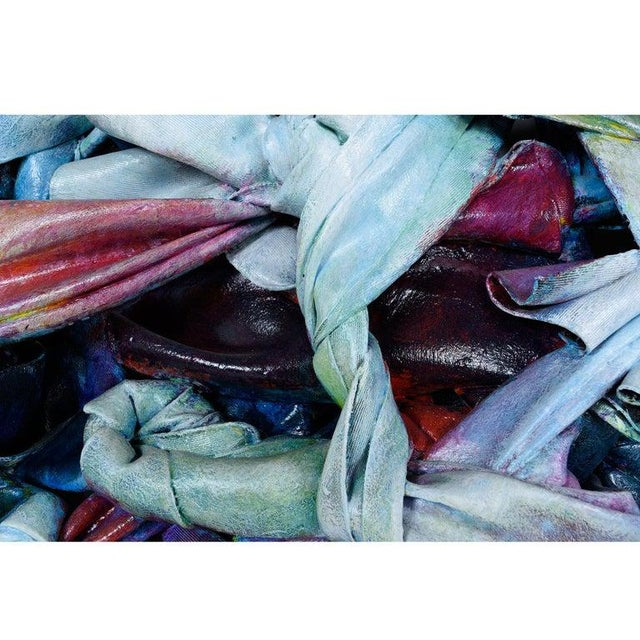 1990s Robert Patrick Painted Acrylic Over Vinyl Textile Fiber Art, 1991 For Sale - Image 5 of 7