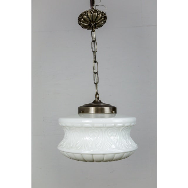 Silver Molded Milk Glass Pendant Light For Sale - Image 8 of 8