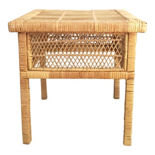 Vintage Square Wicker Side Table or Plant Stand