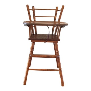 1960s Children Style Wood Highchair With Tray