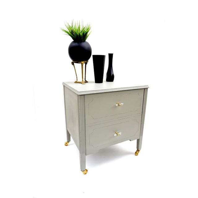 Art Deco Gray & Gold Rolling Record Cabinet For Sale - Image 11 of 11