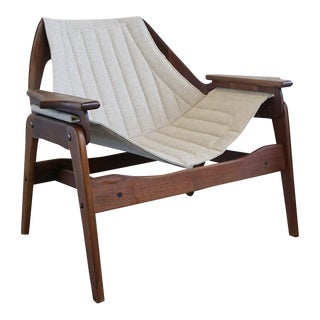 1960s Vintage Jerry Johnson Walnut Sling Lounge Chair For Sale