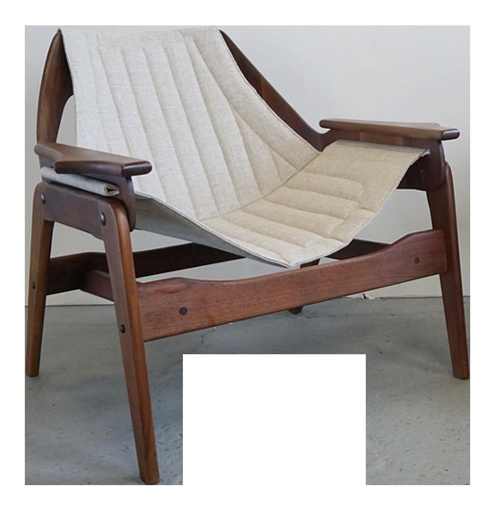 1960s Vintage Jerry Johnson Walnut Sling Lounge Chair