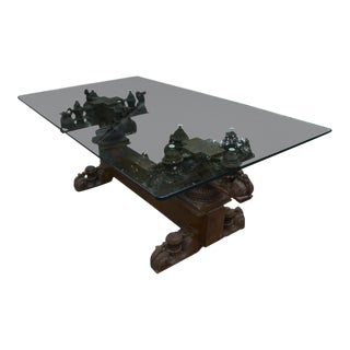 Dining Table - Antique Indian Wood Carving With Thick Glass Top For Sale