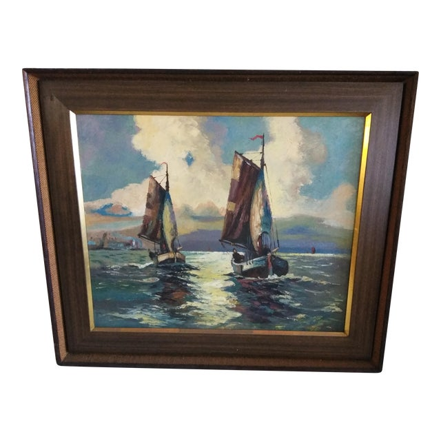 "Mid-Century Modern Original ""Sail Boat Race"" Oil on Canvas Painting For Sale"