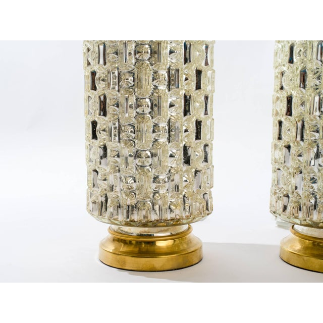 Mid-Century Modern Textured Cylindrical Mercury Glass Lamps For Sale - Image 3 of 6
