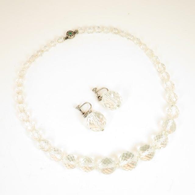 Edwardian Cut Lead Crystal Bead Choker Necklace & Sterling Earrings,1905 For Sale - Image 13 of 13