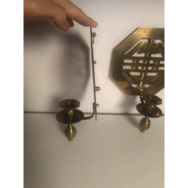 Gold Mid-Century Wall Brass Candleholders - a Pair For Sale - Image 8 of 10