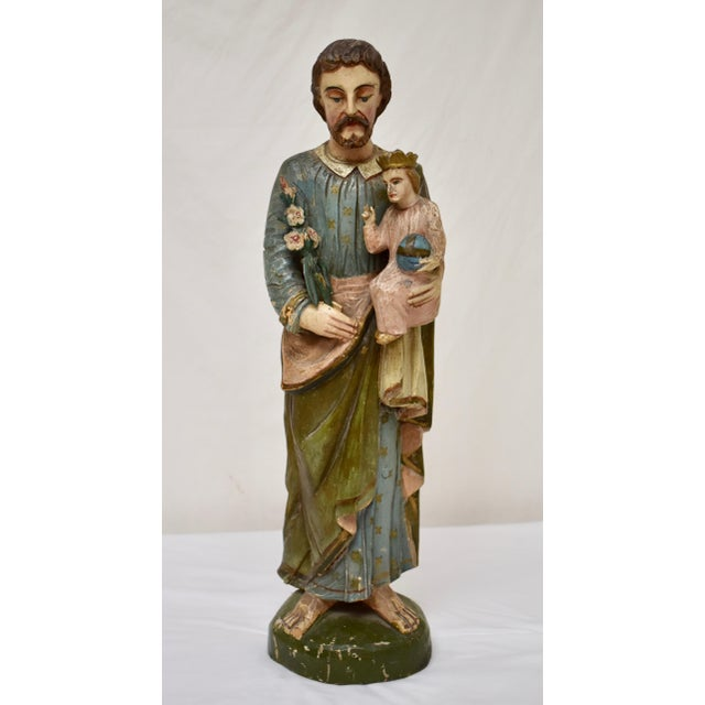 Hand-Carved Wooden Sculpture of Saint Joseph and the Christ Child For Sale - Image 13 of 13