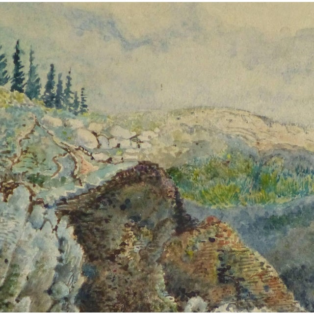 French watercolor of figures standing atop the stone wall remnants of castle overlooking a valley, circa 1850. Artist...