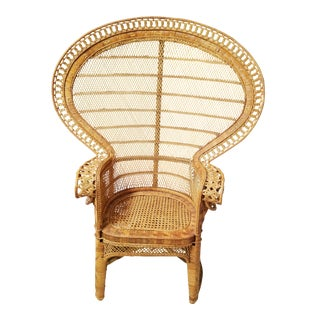 Mid-Century Natural Wicker Rattan Peacock Emmanuelle Fan Chair