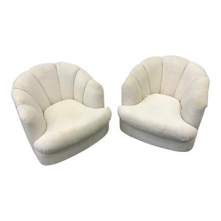 1960s Vintage Milo Baughman Vintage Scalloped Swivel Chairs- a Pair For Sale