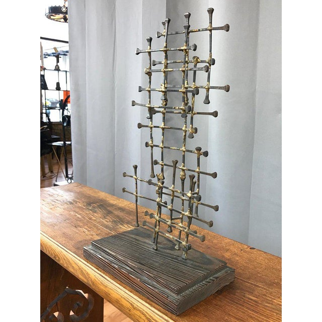 Midcentury Large Brutalist Abstract Nail Art Sculpture For Sale - Image 4 of 12