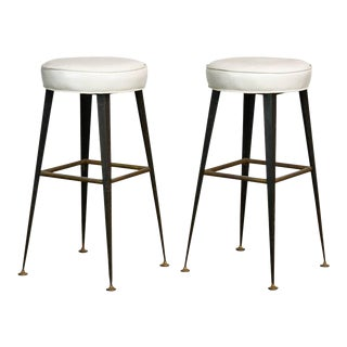 Mid-Century Industrial Iron & Vinyl Bar Stools - A Pair