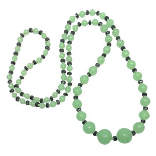 Art Deco Green and Black Glass Necklace, 1920s Necklace, 1930s Necklace, Art Deco Jewelry For Sale