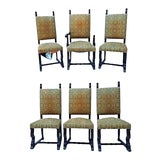 Image of Spanish Style Mahogany Antique Dining Chairs - Set of 6 For Sale