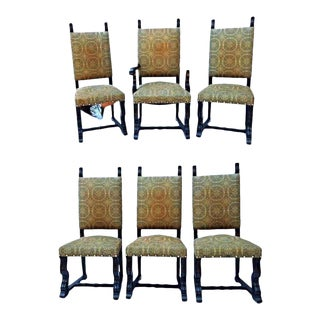 Spanish Style Mahogany Antique Dining Chairs - Set of 6 For Sale