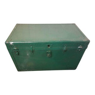 Vintage Green Painted Steamer Trunk For Sale