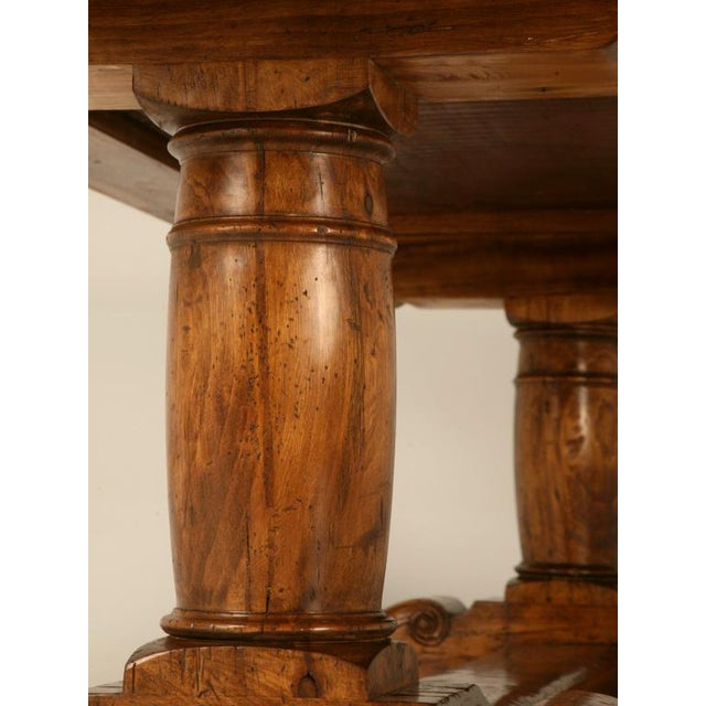 French Vintage French Solid Walnut Farm Table w/Trestle & Fleur De Lys For Sale - Image 3 of 10