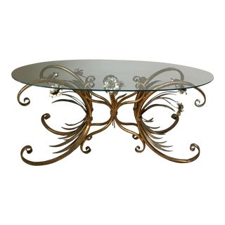 """1960s Italian Gold Gilded Metal """"Sheath of Wheat"""" Oval Coffee Table For Sale"""