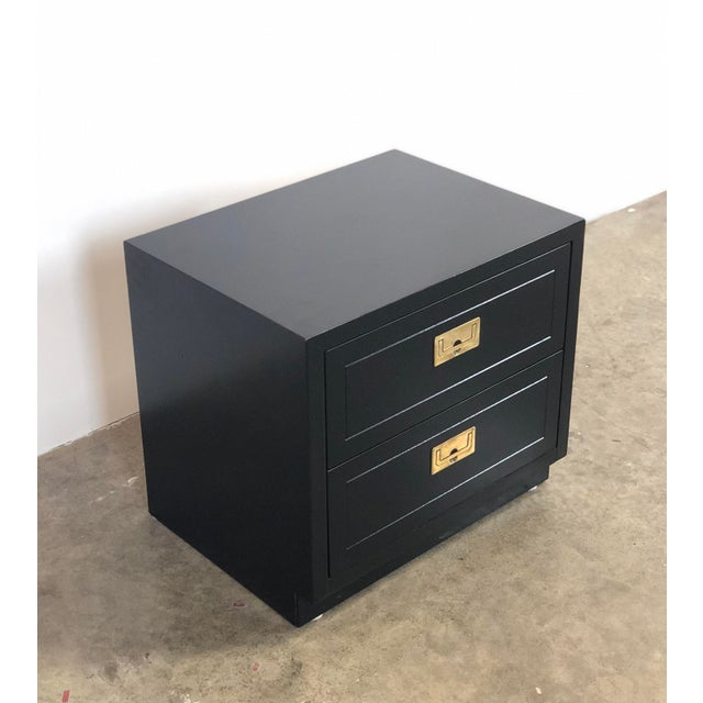 2 Drawer Henredon Black Lacquered Campaign Chest For Sale - Image 12 of 12