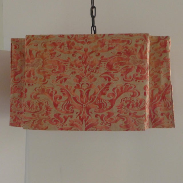 Modern Draped Chandelier in vintage Fortuny fabric by Paul Marra. Hand-sewn. Casual elegance. Oil rubbed bronze finished...
