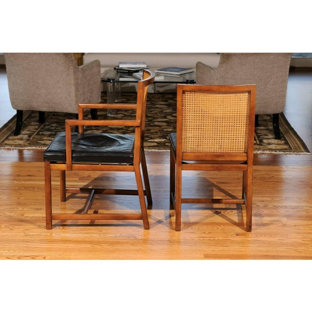 Black Rare Surviving Set of Six Coveted Cane Dining Chairs by Michael Taylor for Baker For Sale - Image 8 of 11