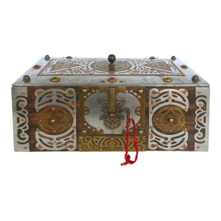 Wood Coffer With Mixed Metal Overlay and Original Key For Sale