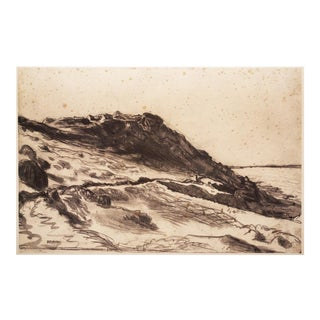 "1950s Boho Chic Lithograph, ""Seaside at Greville"" by Jean-François Millet"