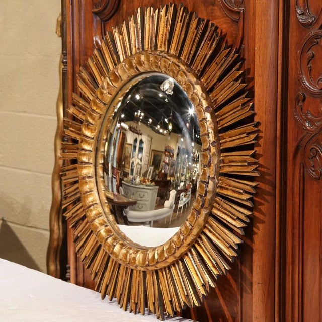 Mid-Century French Sunburst Convex Mirror - Image 2 of 7
