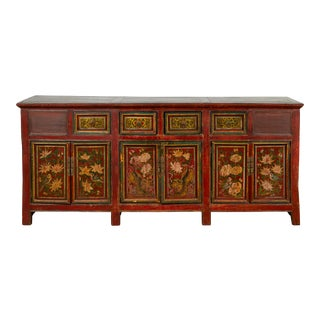 Northern Chinese 19th Century Red Lacquered Buffet with Painted Floral Decor For Sale
