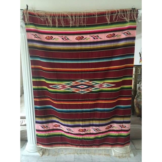 Vintage Mexican Serape Blanket - Image 3 of 6