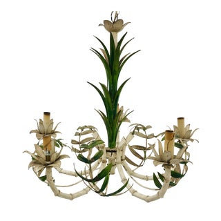 Vintage Faux Bamboo & Palm Chandelier For Sale