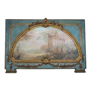 19th Century French Carved Wood Panel With Painted Inset Canvas Panel For Sale