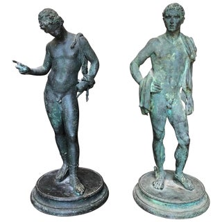 Two 19th Century Grand Tour Nude Male Statues of Roman Gods