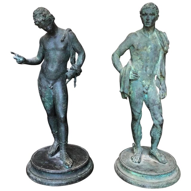 Two 19th Century Grand Tour Nude Male Statues of Roman Gods For Sale