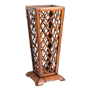 Vintage C.1960, Bamboo, Rattan Trellis Design Umbrella Stand For Sale