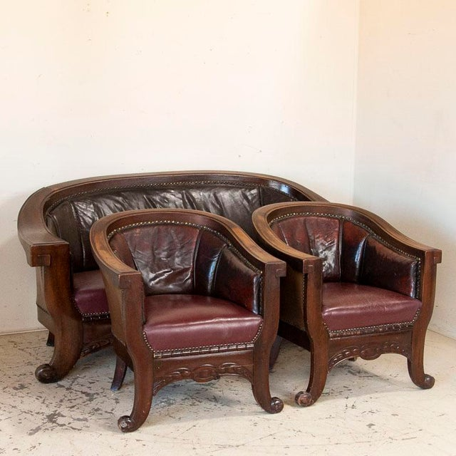 Vintage Leather Sofa and Arm Chairs - Set of 3 For Sale - Image 11 of 11