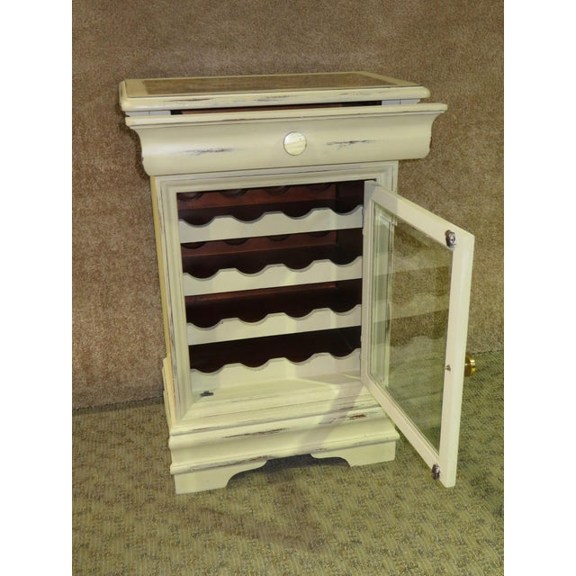 Hand Painted Distressed Mahogany Cottage Style Wine Cabinet With