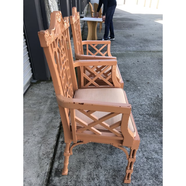 Vintage Fretwork Chinese Chippendale Dining Chairs - Set of 5 For Sale - Image 4 of 13
