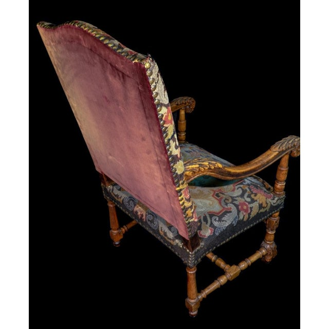Mid 19th Century Antique Carved Needlepoint Armchair For Sale - Image 4 of 5